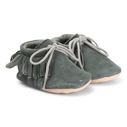 Easy Peasy Navy Meximoo Fringe Lace Crib Shoes