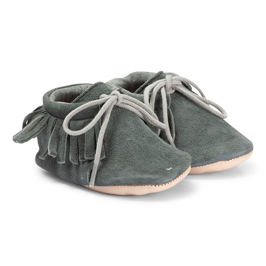Easy Peasy Navy Meximoo Fringe Lace Crib Shoes 137
