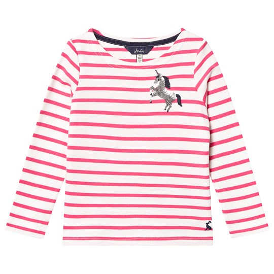 Tom Joule Harbour Long Sleeve Tee White and Pink PINK STRIPE UNICORN