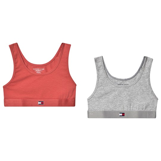 Tommy Hilfiger Grey and Coral Flag 2 Pack of Bralettes 063