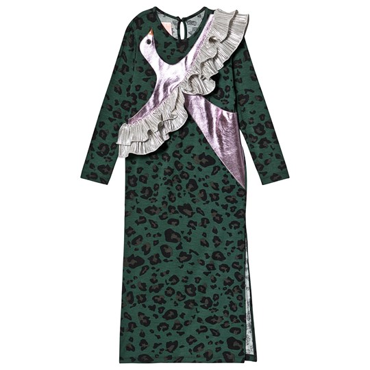 Wauw Capow Peace Winter Dress Green Leopard Print Green Leopard Print
