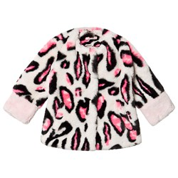 Billieblush Grey and Pink Leopard Faux Fur Kåpe
