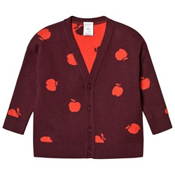 Tinycottons Apples Cardigan Aubergine/Red
