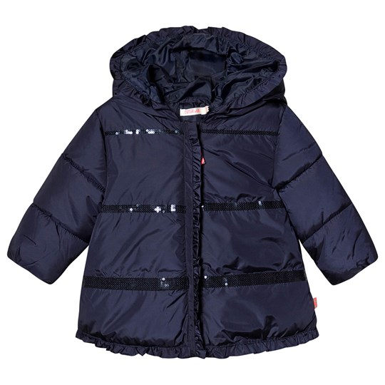 Billieblush Hooded Coat with Sequin Detail Navy 85T