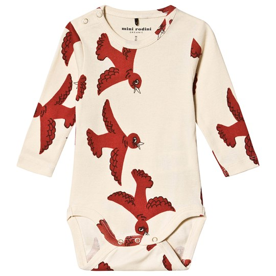 Mini Rodini Flying Birds Baby Body Off White White