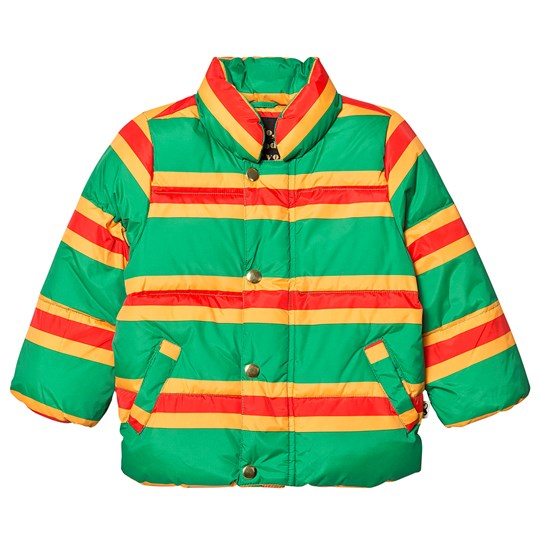 Mini Rodini Stripe Puffer Jacket Green Green