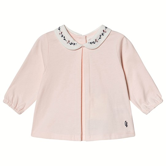 Carrément Beau Long Sleeve Tee Embroidered Collar Pink 45S