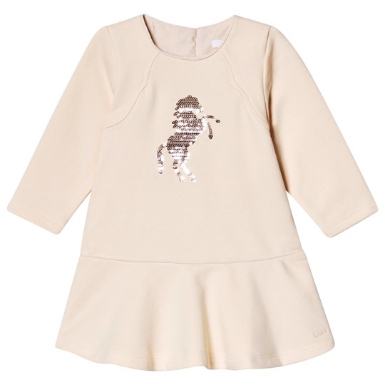 Chloé Dress with Sequin Horse Logo Pale Pink 44B