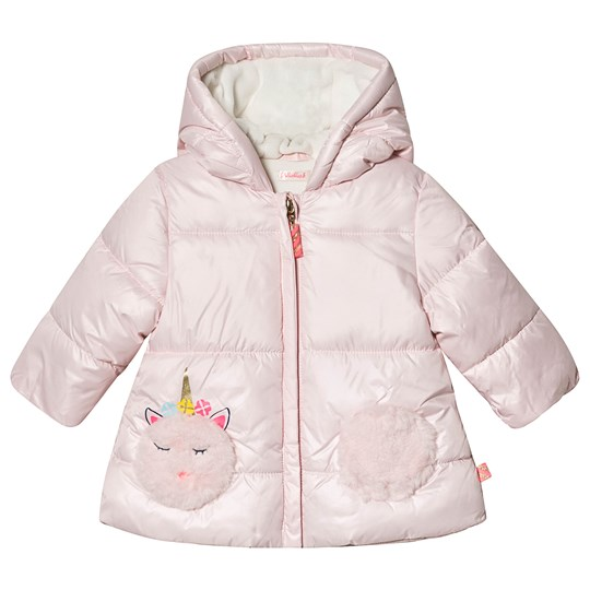 Billieblush Hooded Coat with Unicorn Faux Fur Pocket Pale Pink 46F