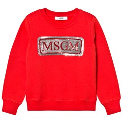 MSGM Sequin Logo Sweatshirt Red