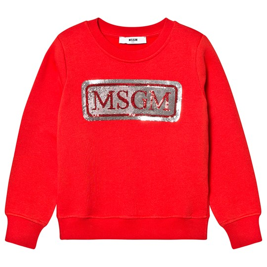MSGM Sequin Logo Sweatshirt Red 040