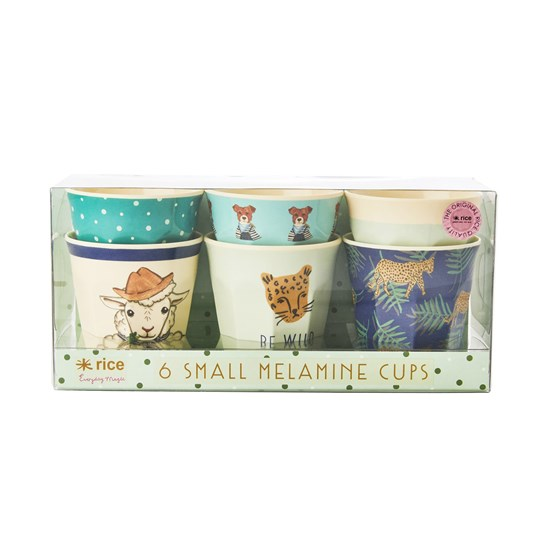 Rice 6-Pack Small Melamine Cups Green Farm Animals Print Green