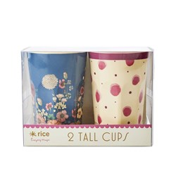 Rice 2-Pack Tall Melamine Latte Cups Pink Watercolor Splash/Flower Collage Print