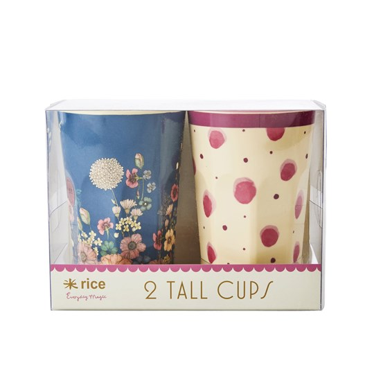 Rice 2-Pack Tall Melamine Latte Cups Pink Watercolor Splash/Flower Collage Print Pink