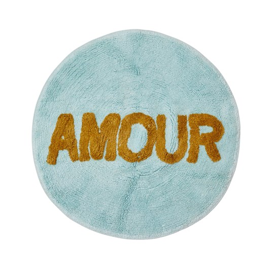 Rice Tufted Round Floor Rug Mint/Amour 75 cm Blue