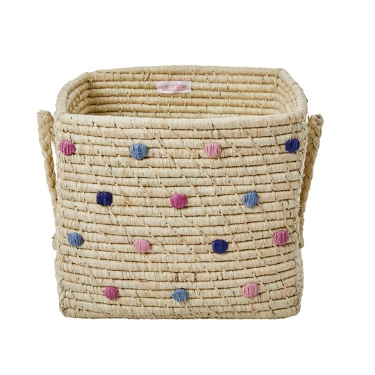 Rice Raffia Dotted Square Basket Beige