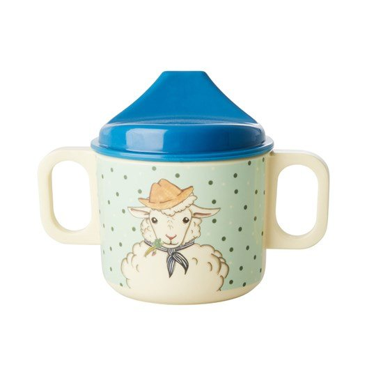 Rice Melamin Baby Mugg Green Farm Animals Print Green