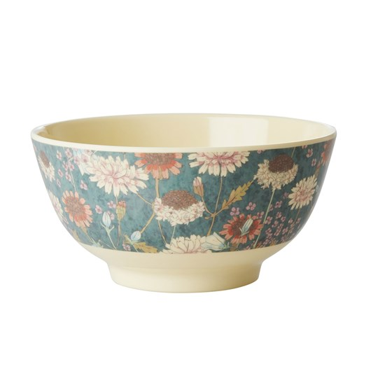 Rice Medium Melamine Bowl Fall Flower Print Green