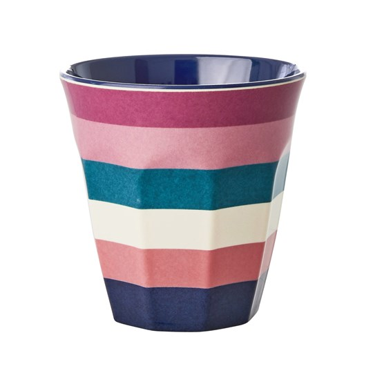 Rice Medium Melamine Cup Stripe Print Pink
