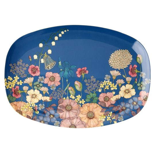 Rice Large Rectangular Melamine Plate Flower Collage Print Blue