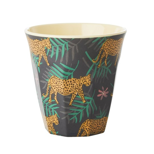 Rice Medium Melamine Cup Leopard and Leaves Print Green