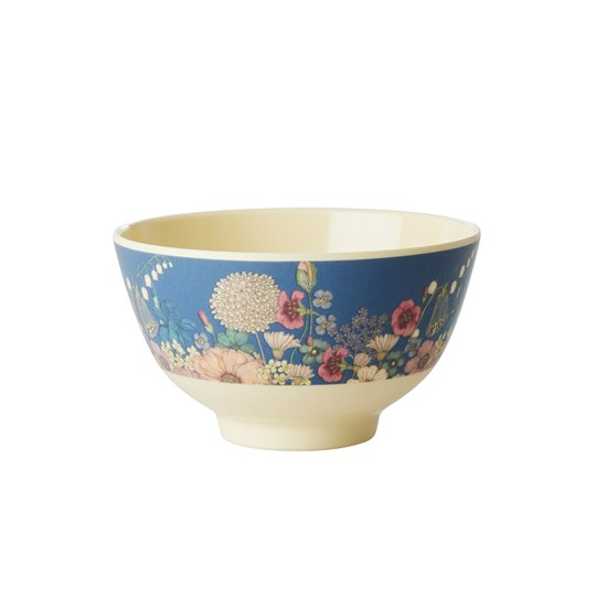 Rice Small Melamine Bowl Flower Collage Print Blue