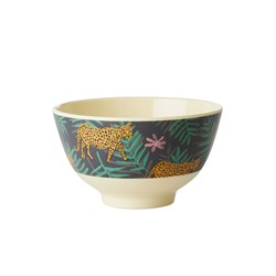 Rice Small Melamine Bowl Leopard and Leaves Print