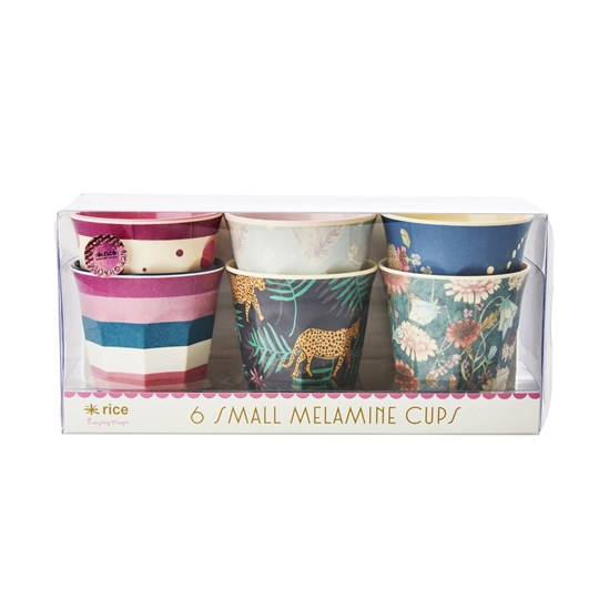 Rice 6-Pack Small Melamine Cups Simply Yes Pink