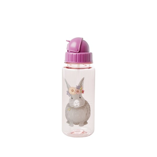 Rice Drinking Bottle Pink Farm Animals Print Pink