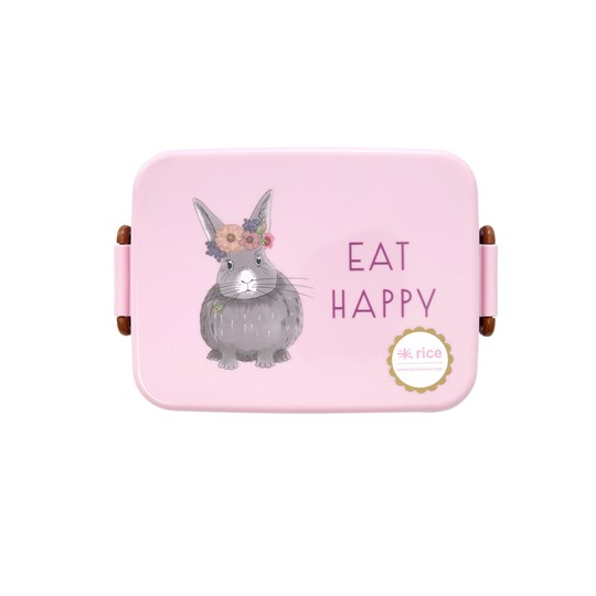 Rice Divided Lunch Box Pink Farm Animals Print Pink