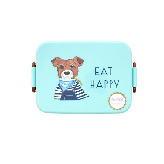 Rice Divided Lunch Box Green Farm Animals Print Blue
