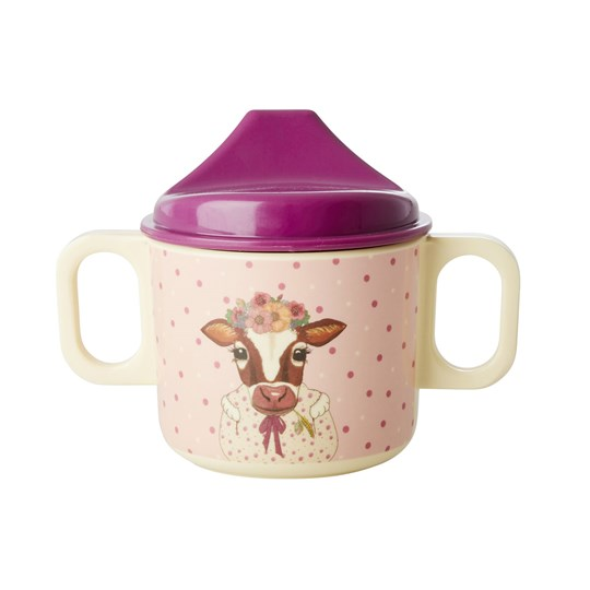 Rice Melamin Baby Mugg Pink Farm Animals Print Pink