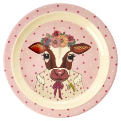 Rice Melamin Lunch Tallrik Pink Farm Animals Print
