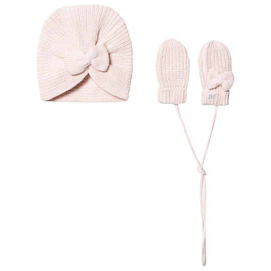 Carrément Beau Bow Knit Hat and Mittens Set Pink 45S