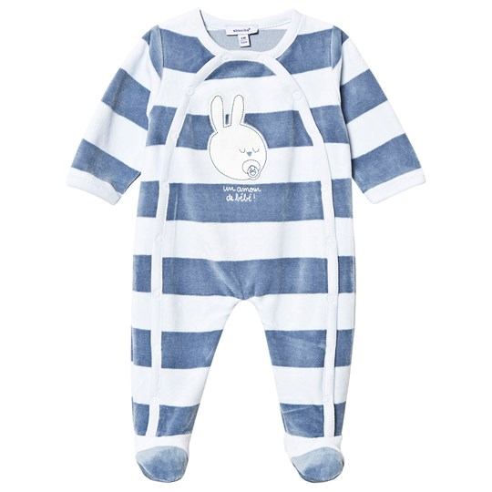 Absorba Pale Blue and Navy Stripe Velour Bunny Babygrow 41