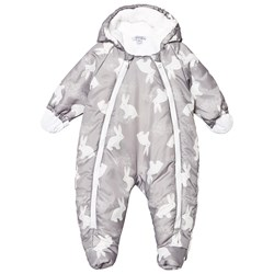 Absorba Bunny Print Coverall Grey/White