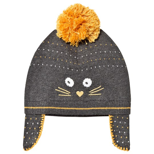 Absorba Cat Knit Pom-Pom Hat Grey/Yellow 29