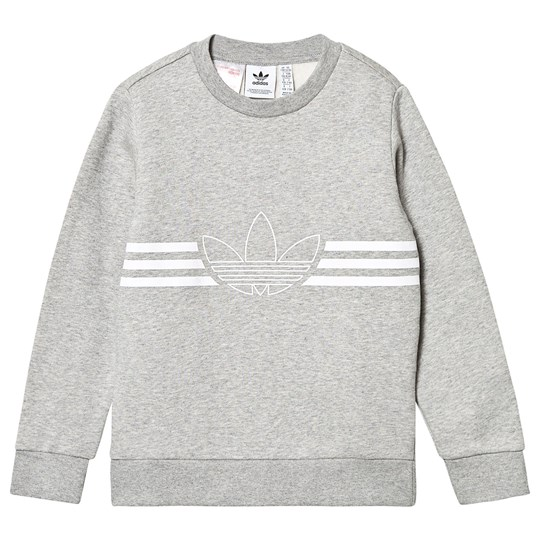adidas Originals Outline Logo Crew Sweatshirt Grey MEDIUM GREY HEATHER/WHITE
