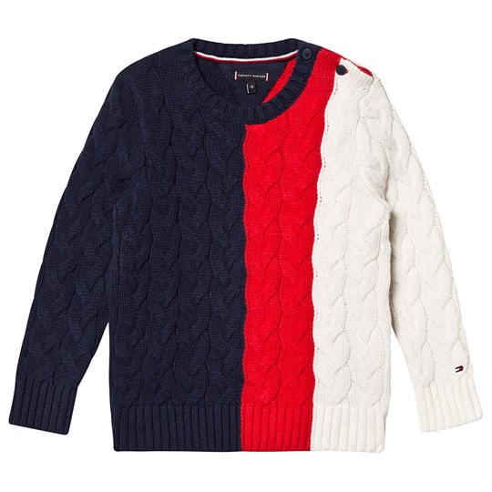Tommy Hilfiger Color Block Knitted Sweater Navy/Red/White CBK