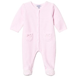 Absorba Quilted Velour Footed Baby Body Pink