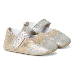 Absorba Crib Shoes Gold/Silver
