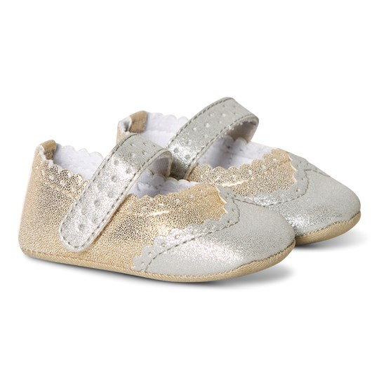 Absorba Crib Shoes Gold/Silver 74