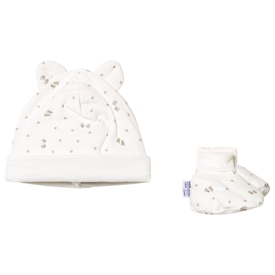 Absorba Star Handprint Hat and Booties Set Cream 11