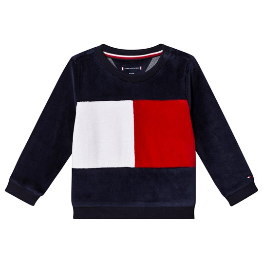 Tommy Hilfiger Color Block Velour Sweatshirt Navy/Red 002