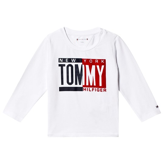 Tommy Hilfiger Tommy Flag Logo Long Sleeve Tee White 123
