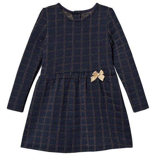 Absorba Navy and Gold Check Bow Detail Dress 04