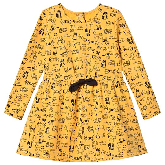 Absorba Cat Print Long Sleeve Dress Yellow 73