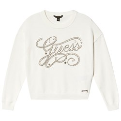 Guess Stud Branded Knit Sweater Cream/Gold