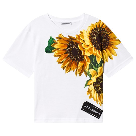 Dolce & Gabbana Sunflower Patch Jewel Embroidered Tee White W0800