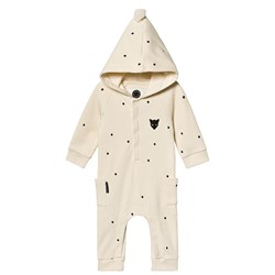 Sproet & Sprout Waffle Hooded One Piece Cream Polka Dot